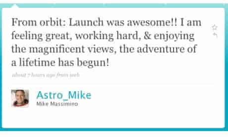 Astro Mike's first twitter message from space