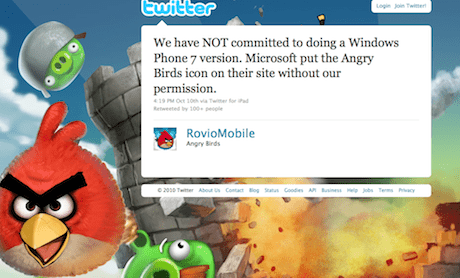 Angry Birds tweet