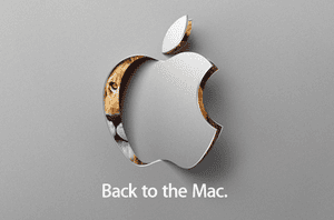 Apple invite with lion behind logo