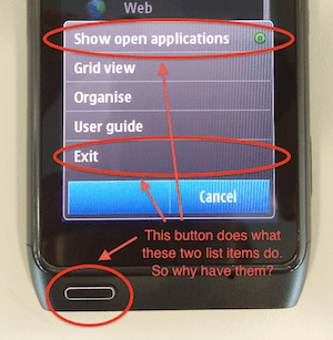 Nokia N8: stupid list management