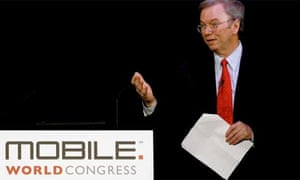 Google chief executive Eric Schmidt addresses the Mobile World Congress in Barcelona, 2010