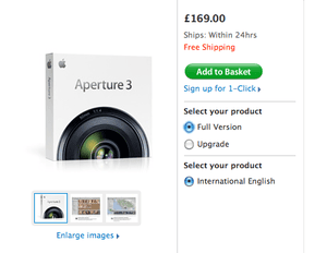 Aperture 3 on sale at the Apple Store