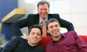 Sergey Brin, Eric Schmidt and Larry Page
