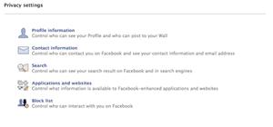 Facebook basic settings choices