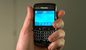 Blackberry held in way that loses reception