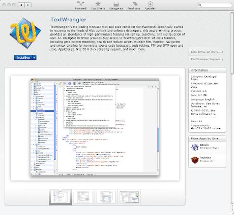 Textwrangler on the Mac App Store
