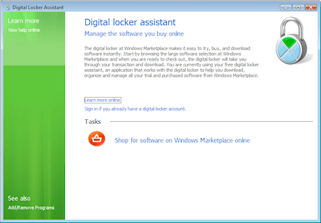 Windows Marketplace in control panel