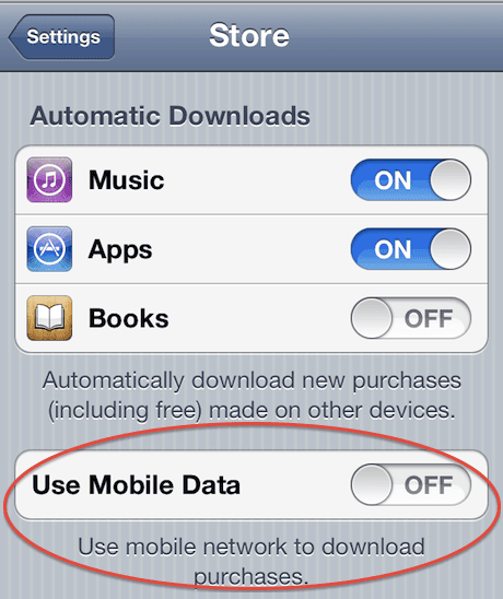 iPhone download setting doesn't stop downloads - and can