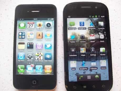 Google Nexus S beside iPhone 4