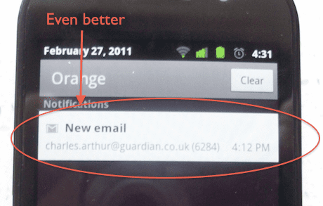 Gingerbread notification detail