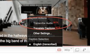 Turn on Google transcription
