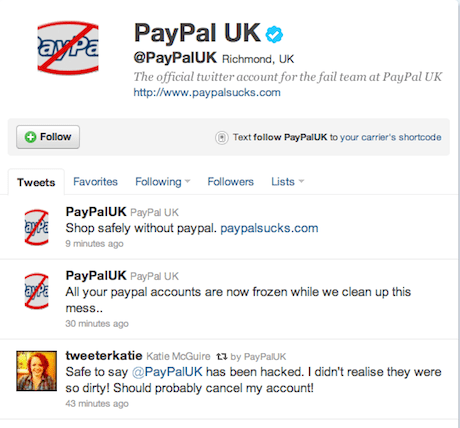 Hacked PayPal UK Twitter account