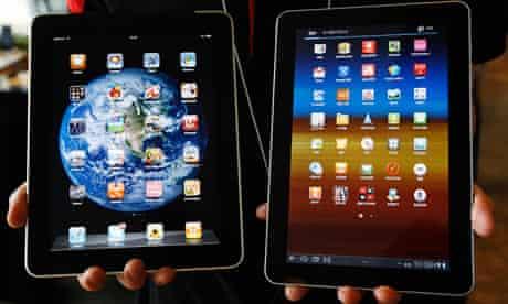 Samsung Electronics' Galaxy Tab 10.1 tablet and Apple's iPad