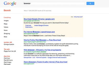 Google Chrome search result