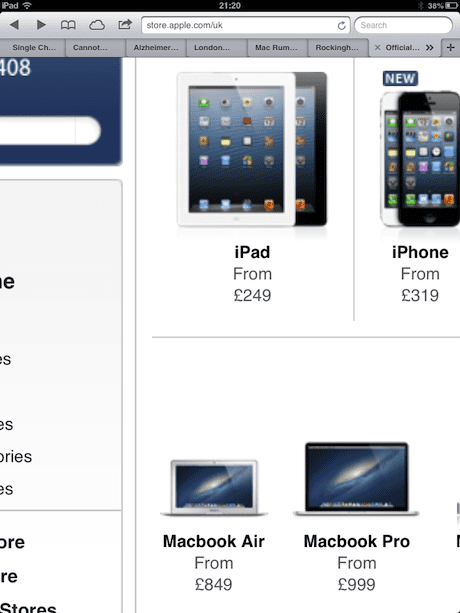 Ipad Mini Uk Pricing Will Start At 249 Screenshot Suggests Ipad The Guardian