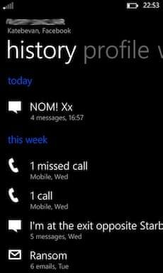 Windows Phone 8 'history' screen