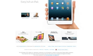 screen grab of apple home page