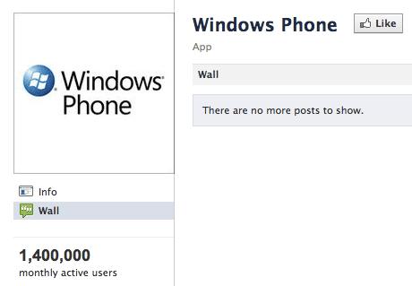 Windows Phone: 1.4m Facebook users