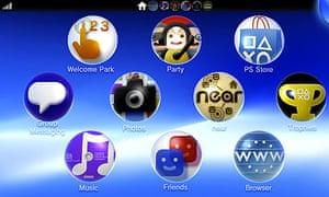 PS Vita home screen