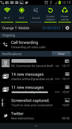 SGS 3 notifications