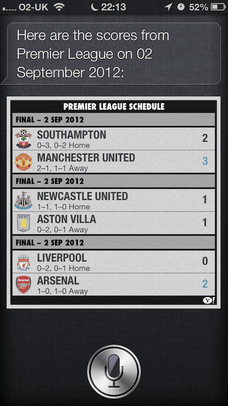 Siri does football on iOS6