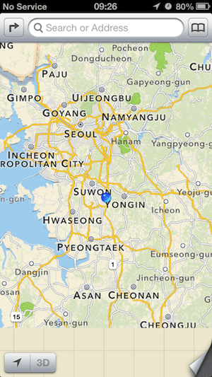 Heading south from Seoul on Apple Maps