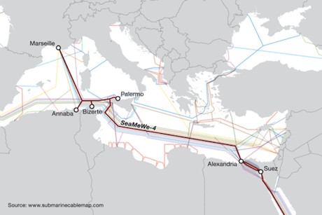 Egypt undersea cable map