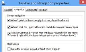 Microsoft 8.1 taskbar options