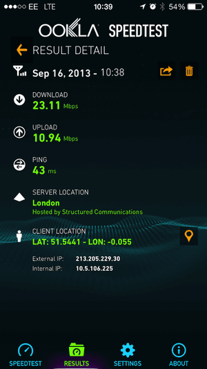 LTE on an iPhone 5c