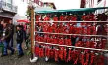 Racks of dried Piment d'Espelette peppers in the French town of  Espelette.