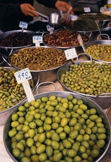 olives on display in Caimari, Mallorca