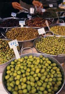olives on display in Caimari, Mallorca