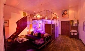 Cube bedroom at the Backstage Hotel, Zermatt
