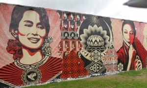 Graffiti art by Shepard Fairey at Wynwood Walls.