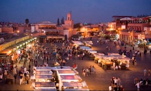 Djemaa el Fna square by night Marrakesh Morocco