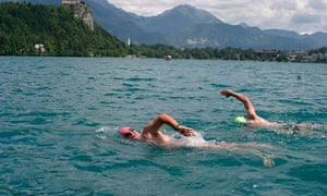 Swimming in Lake Bled.