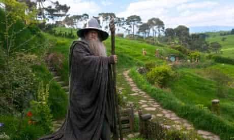 Sir Ian McKellen (as Gandalf) on the Hobbiton set