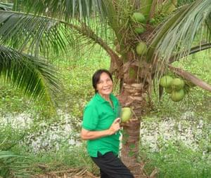 Coconut for breakfast at Bangkok Tree House