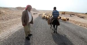 shepherds on the road next to Gobeckli Tepe