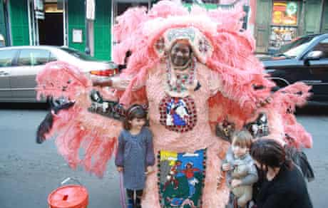 Ruby and Oisin with a mardi grass indian