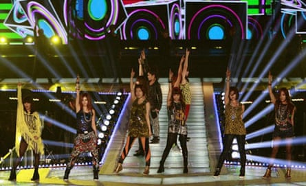 South Korean girl group T-ara  on stage