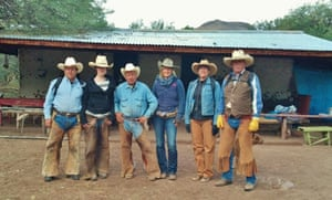 Guests and cowboys at the Los Baños camp