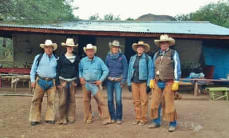 Guests and cowboys at the Los Baños camp