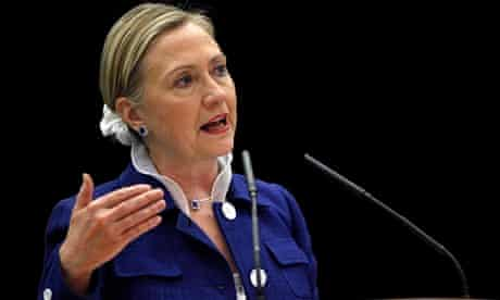 Hillary Clinton with her hair in a scrunchie