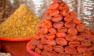Dried apricots in Samarkand market