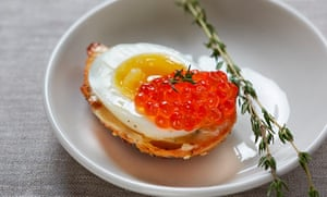 Organic egg with salmon roe
