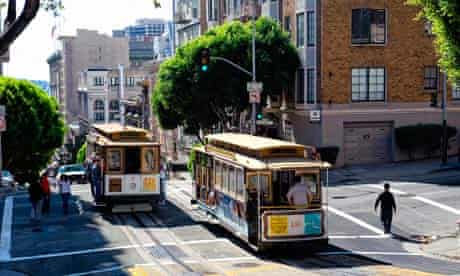 Cable car tram on Pine Street, San Francisco