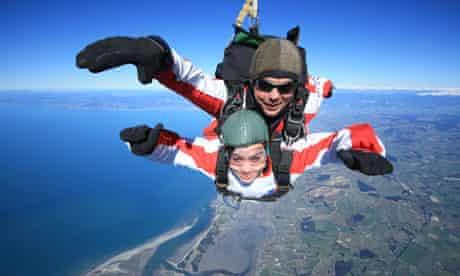Rebecca skydiving in New Zealand
