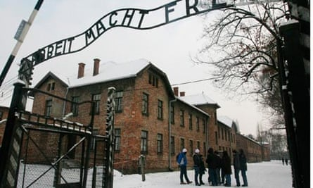 Tourists at entrance to Auschwitz