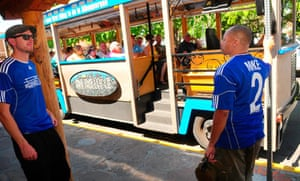Trolley owners Jesse Heron,<cq>, left and Mike Silva